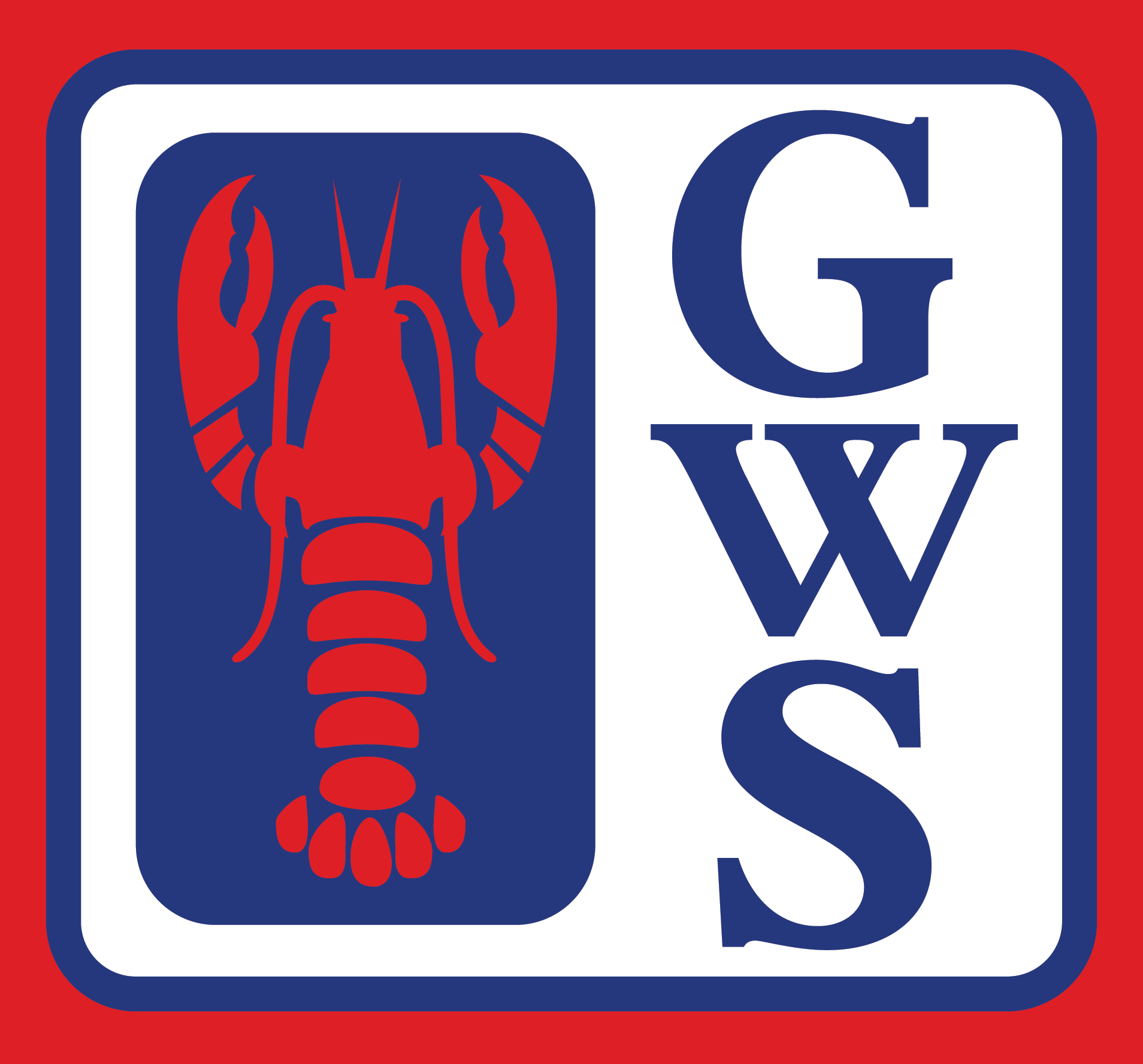 Red, white and blue Gardner's Wharf Seafood square logo with a red Lobster to the left and navy blue GWS positioned vertically to the right